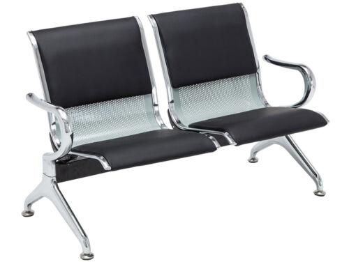 2er Wartebank Airport Kunstleder Wartezimmer Stuhl schwarz//silber