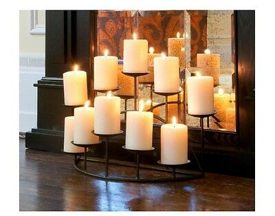 New 10 Candle Black Candelabra Holder Centerpiece Mantel Fireplace