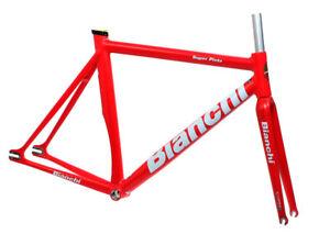 Bianchi-Super-Pista-Frameset-Satin-Red-57cm-Track-Frame-Carbon-Fork-NEW-in-Box