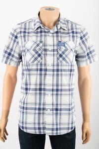 Camisa-De-Manga-Corta-Blanco-Azul-Cuadros-para-Hombre-de-Algodon-Camisa-Talla-L