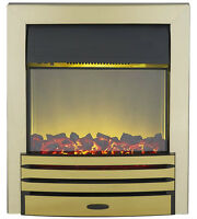 Electric 2kw Brass Surround Modern Flame Fireplace Inset Insert Coal Fire Led