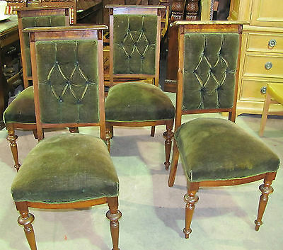 Victorian Parlor Chair Set with Green Tufted Upholstery