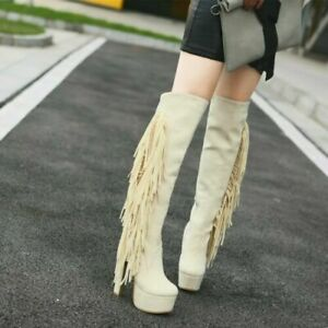 Womens-Retro-Tassel-Fringe-Knee-High-Riding-Boots-Block-Heel-Platform-Plus-Size