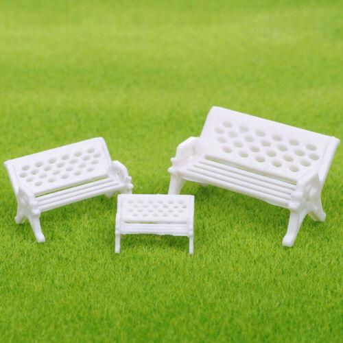 2x Mini White Bench Fairy Doll Chair Micro Landscape Home Garden Dollhouse Decor