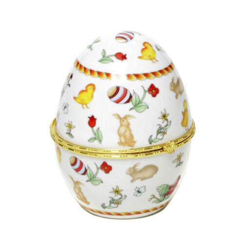 Porcelana huevo de pascua joyas con bolsillos joyero decoración huevo conejo cajita de secretos