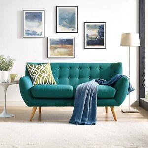 Sensational Details Zu Mid Century Modern Tufted Teal Upholstered Fabric Living Room Loveseat Sofa Cjindustries Chair Design For Home Cjindustriesco