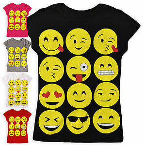 5b952204a0ae Girls Emoji T shirt Kids New Smiley Face Tops Ages 5 6 7 8 9 10 11 ...