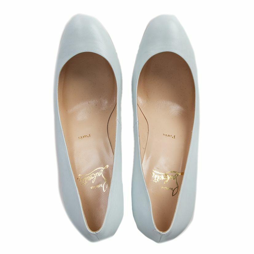 55508 55508 55508 auth CHRISTIAN LOUBOUTIN bluee leather Rounded-Toe SIMPLE Pumps shoes 40 012c48