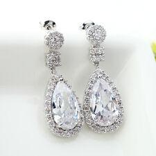 Classic Cubic Zirconia Drop earrings Bridal Tear Pear CZ  Zircon dangle Cluster