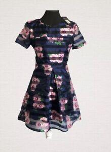 AX-Paris-vestido-Talla-10-Azul-Marino-Floral-semi-transparentes-Forrado-Inteligente-Fiesta-Baile-de