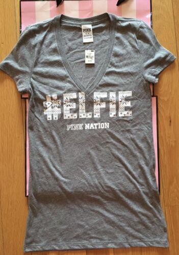 NWT Victoria/'s Secret PINK Nation Hashtag #Elfie V Neck T-Shirt Gray Green M
