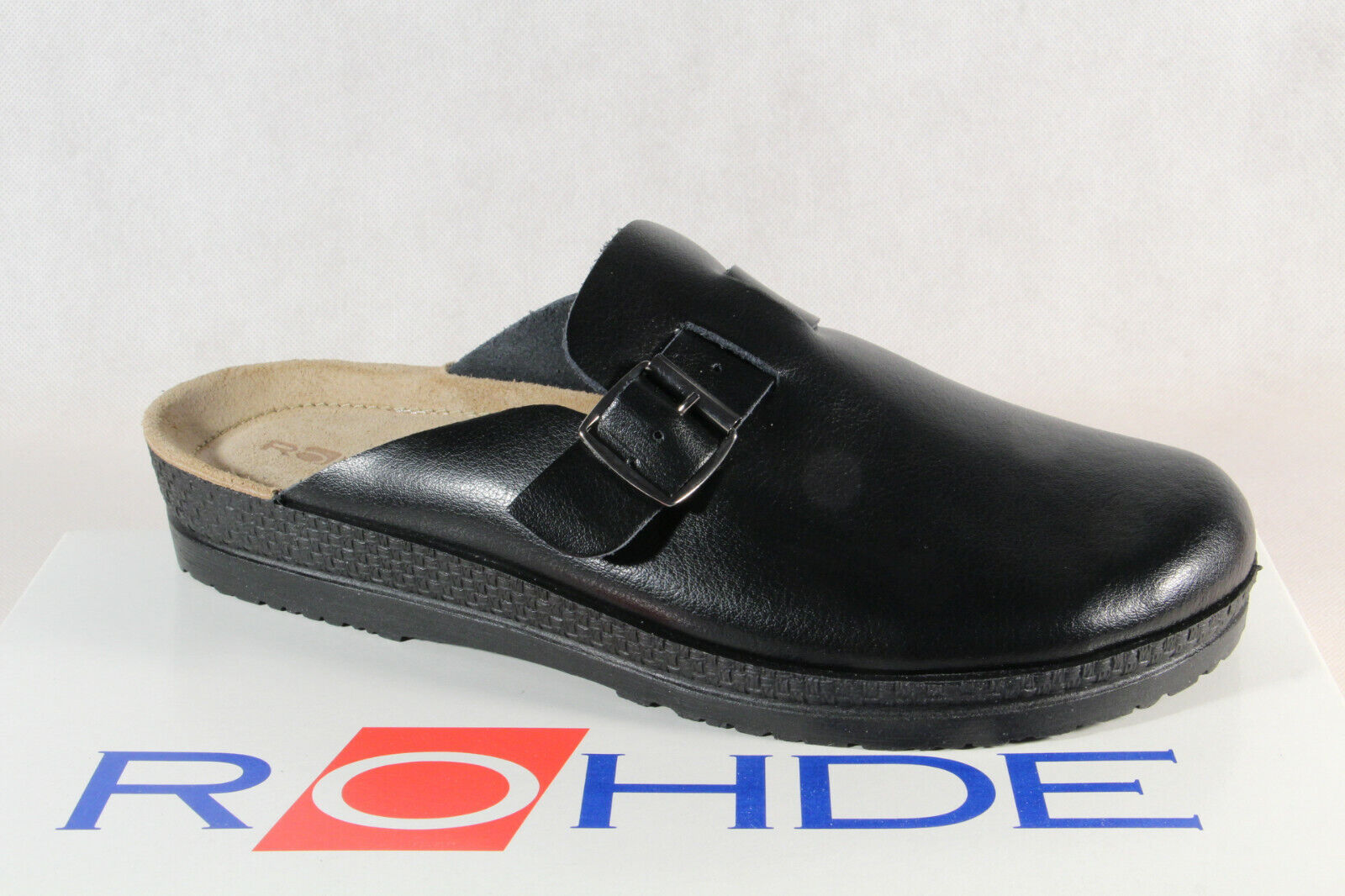 Rohde Hombre Zuecos Mulas Zuecos Negro Cuero Aut. Nuevo
