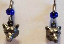 Husky or Wolf Head Silver Earrings Hook