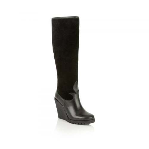 Ravel 8 Knee Uk Suede Leather Gaines Ladies Mid High Wedge Heel Boots Black RTwaqXd