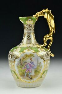 Dresden-Porcelain-Ewer-with-Figural-Winged-Dragon-Handle-amp-Courting-Scenes