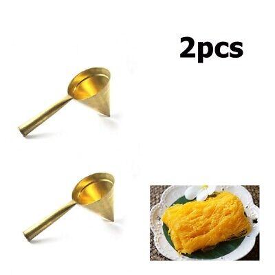 Thai Dessert Traditional Gold Egg Yolks Thread Foi-Thong A Cone Brass Bakery