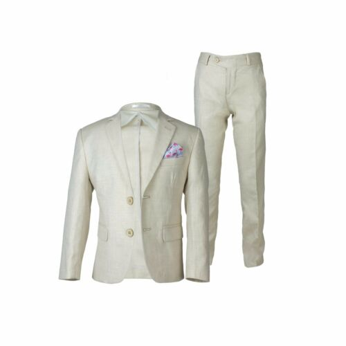 Boys Cream Beige Linen Casual Suits Page Boy Outfit Boy Formal Suit