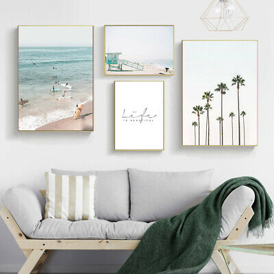 Palm Tree Sea Canvas Poster Landscape Motivational Wall Art Print Nordic Style