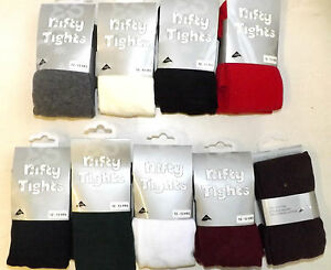2-Pairs-Cotton-Rich-Girls-School-Tights-nifty-Ages-3-13-Years-Assorted-Colours
