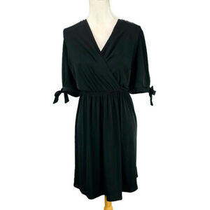 Lane-Bryant-Faux-Wrap-Dress-Black-Stretch-Jersey-Knit-3-4-Sleeve-Plus-Size-14-16