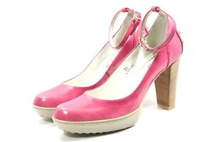TODS-TOD-039-S-ASPEN-pumps-Womens-shoes-36-6-PINK-Leather-Platform-Heels-Ankle-Strap