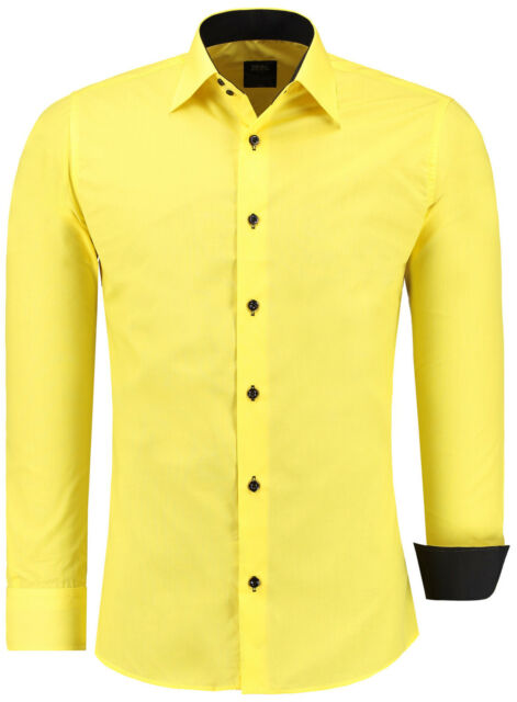 Herren Slim Fit Hemd Hemden Business Hochzeit Freizeit Shirt Gelb-J-12105
