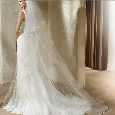 2.3m Long 2 Tiers Wedding Bridal White/Off White Cathedral Net Organza Veil