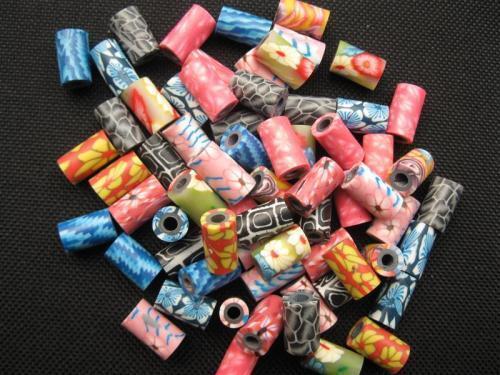 10 Kunststoffperlen Röhrchen bunt 6x10mm 10664