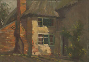 Herbert-Goodliffe-1900-1958-Mid-20th-Century-Oil-Rural-Cottage