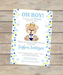 Prince Teddy Bear Baby Shower Invitation Teddybear Invite For Baby