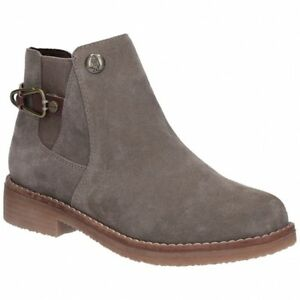 Hush-Puppies-ALASKA-Ladies-Womens-Suede-Leather-Casual-Ankle-Boots-Dark-Grey
