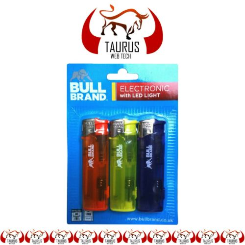 3x BULL BRAND Electronic Lighter LED Light Gas Refillable Tobacco Smoking Tip UK