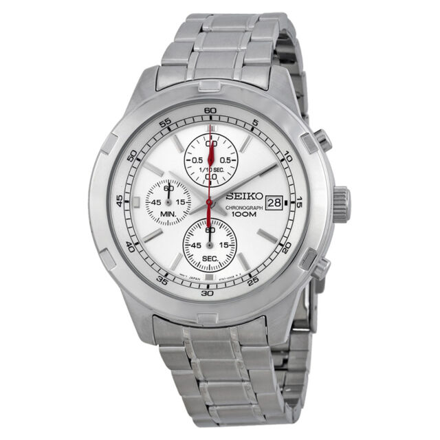 Seiko Chronograph Silver Dial Stainless Steel Mens Watch SKS417