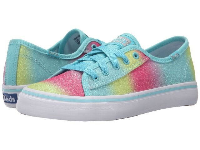 Keds Double Up Sugar Dip Girls UK13 Trainers / Sparkly Glitter Shoes - Turquoise