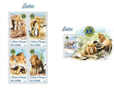 Honesty Löwen Löwen Großkatzen Wilde Tiere Fauna Sao Tome Und Principe Mnh Stempelset Highly Polished