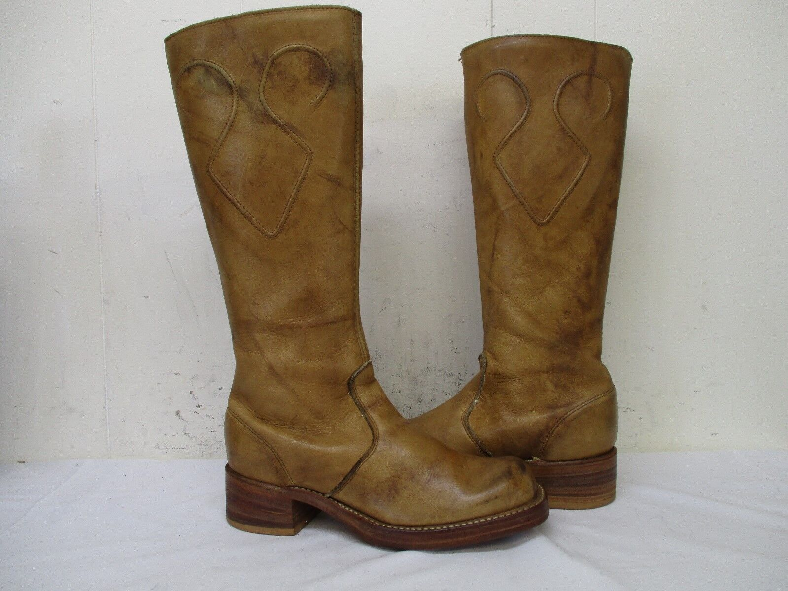 Marble Tan Leather Zip Campus Boots Womens Size 6.5 M Style 7632 USA