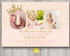 Custom Printable Girls Birthday Photo Words Invitation 1st Princess Pink & Gold