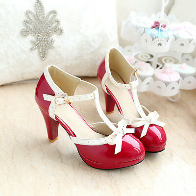 Womens High Heel Bowknot Pumps Lolita T-Strap Buckle Mary Jane Shoes Plus Sz New