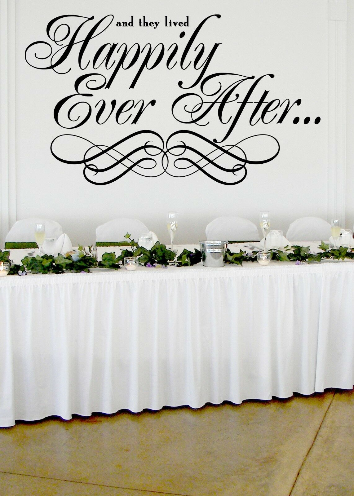 Happily Ever After Wedding Wall Decor Vinyl Autocollant Décalque 30 h X 50 w