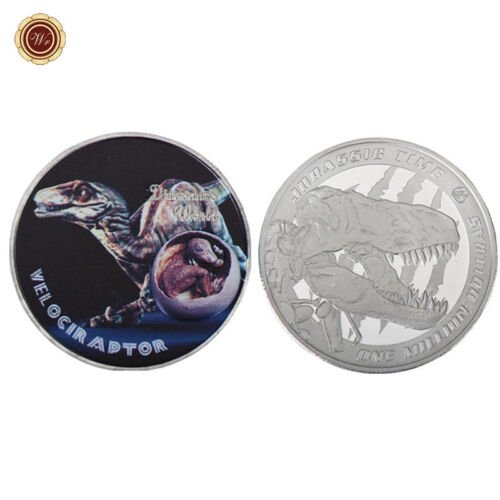 WR Jurassic Time Velociraptor Silver Coin Token $1 Million Dollar Dinosaur World
