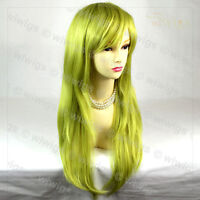 Sexy Long Straight Golden & Green Ladies Wigs Heat Resistant Cosplay WIWIGS UK