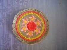 HALF SCALE   with CORAL  ROSE ON LIGHT  BROWN LINEN MINIATURE MINI RUG