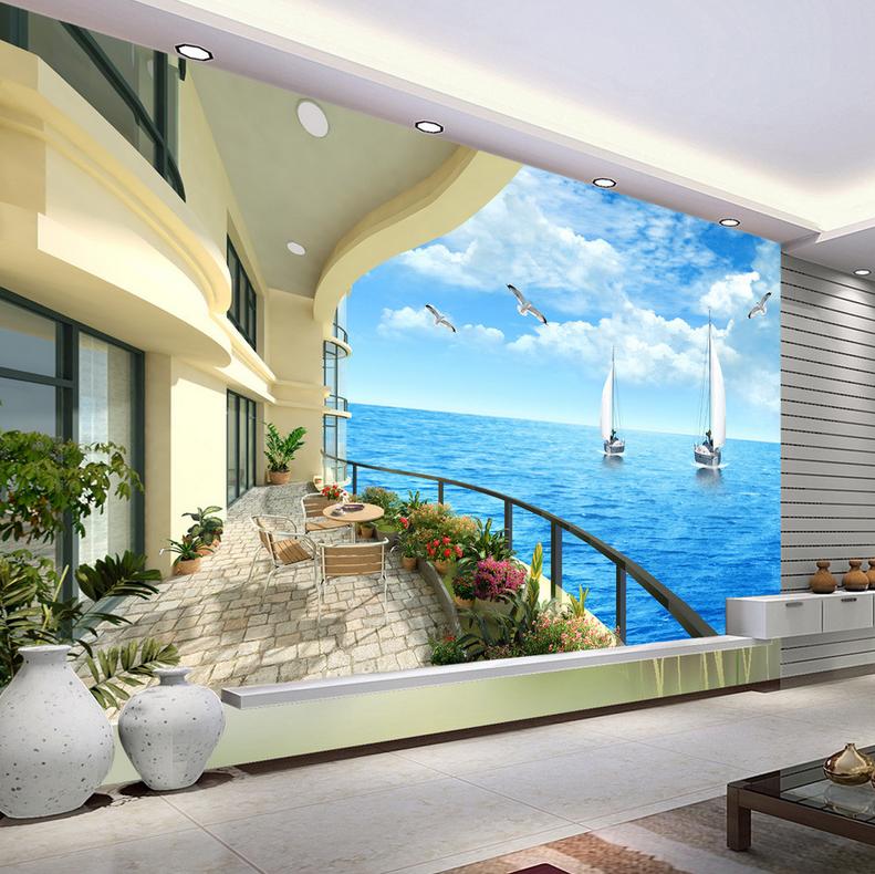 3D Sky Ocean Terrace 835 Wallpaper Mural Paper Wall Print Wallpaper Murals UK