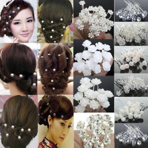 20-40Pcs-Wedding-Bridal-Pearl-Rose-Flower-Hair-Pins-Rhinestone-Crystal-Clips-Lot