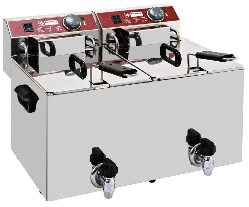 Électrique Friteuse Friteuse Friteuse Table Appareil en acier inoxydable 2 x 10 L 9000 W gastlando