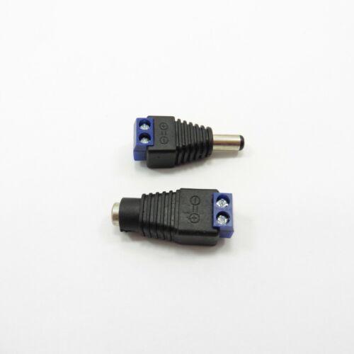 Cctv 12V DC Power Jack A Tornillo Terminal azul hombre y hembra Adaptador Plug Socket