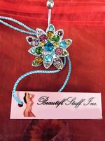 Flashy Colorful Gem Large Flower Navel Belly Bar Ring