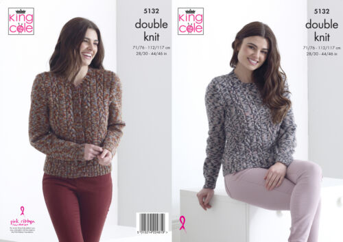 Womens Double Knitting Pattern Ladies Cabled Jumper /& Cardigan King Cole DK 5132