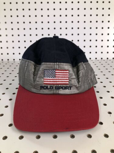 Vintage Polo Sport Hat Metallic Polo Flag Hat 90s