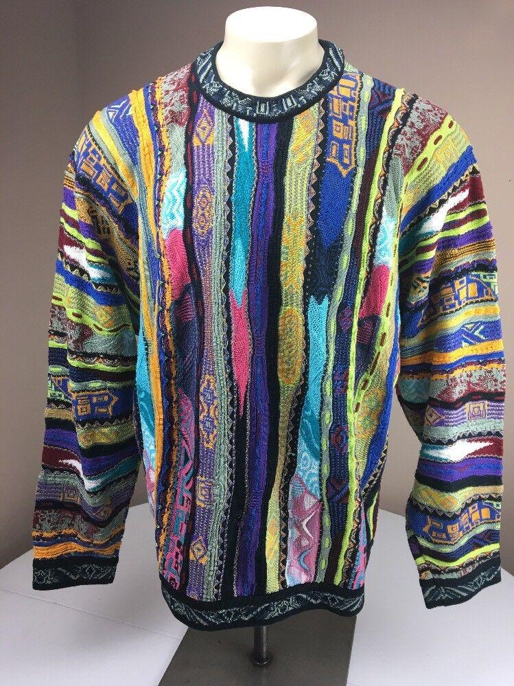 RARE 90s Vtg COOGI Australia NEON-BIGGIE-MCGREGOR sweater EUC FIRE XL VAPORWAVE